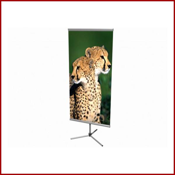 Bi-side est un porte affiche doufle face équipé d'une canne télescopique réglable en hauteur.