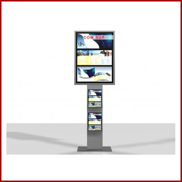 Excellio 1 est un porte affiche équipé d'un cadre clipant 60cm / 80cm et 2 porte brochure en plexiglass.