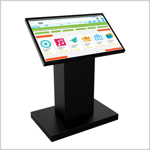 I-Pupitre 32 pouces est borne tactile composée d'un large écran 32'' (81cm) 16/9 professionnel haute-définition équipé de la technologie tactile capacitive.