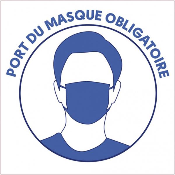 Sticker autocollant Port Du Masque Obligatoire. Adhésif monomère. Dimensions (Long. x Prof. X Haut.): Carré 15 cm de côté. Vendu par Kit de 10 PC