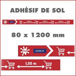 Bandes de sol adhésives COVID-19 - Balisage pour le respect des distances format 80 x 120 cm. Pour indiquer les distances entre les chariots dans les supermarchés.