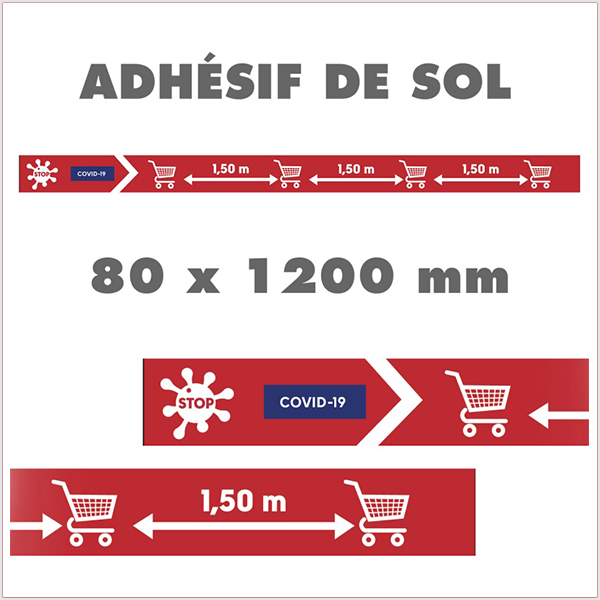 Bande De Sol Adhésive, Balisage COVID-19. Visuel spécifique COVID-19. Adhésif de sol antidérapant. 120 x 8 cm. Vendu par Kit de 20 PC
