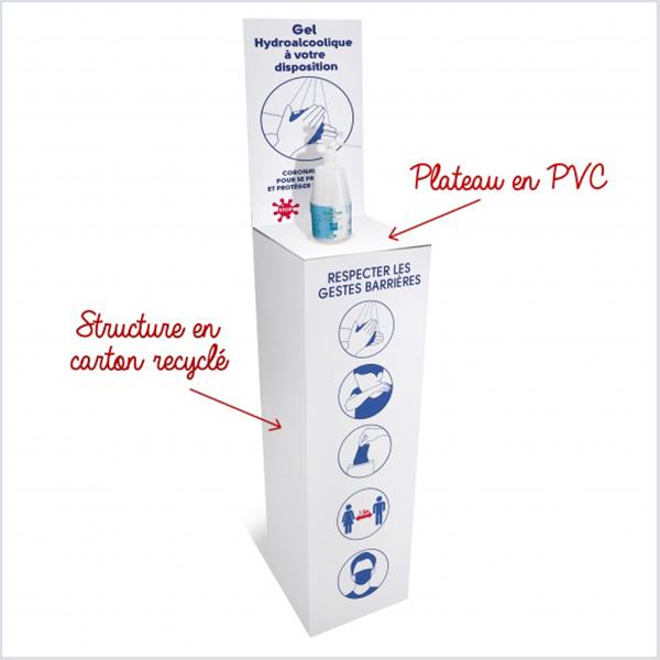 Support pour bouteille de Gel Hydroalcoolique. Visuel spécifique COVID-19. Carton et plateau PVC. 30 x 30 x 90 cm + fronton 50 cm