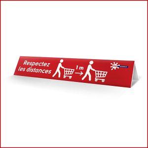 Message d'information respect des distances sur séparateur de caisse en PVC. Possibilité de personnaliser le message selon votre enseigne.