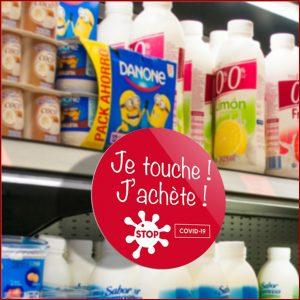 """Stop-rayon """"ne pas toucher"""" pour protéger les produits en rayon de magasin. Ce stop-rayon est en PVC, une matière plastique qui peut être nettoyée."""